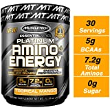 Muscletech Essential Series Platinum Amino Energy (Intra Workout, 5g BCAAs, 7.2 Total Aminos, 0g Sugar) - 317 g (Tropical Mango)