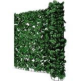Mendler Sichtschutz Windschutz Verkleidung für Balkon Terrasse Zaun ~ Blatt dunkel 300 x 100 cm