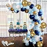 APERIL Kit Ghirlanda Palloncini, 94 Pezzi Kit Arco Palloncini Blu e Oro Bianco Confetti Palloncini in Lattice Addobbi per Fes