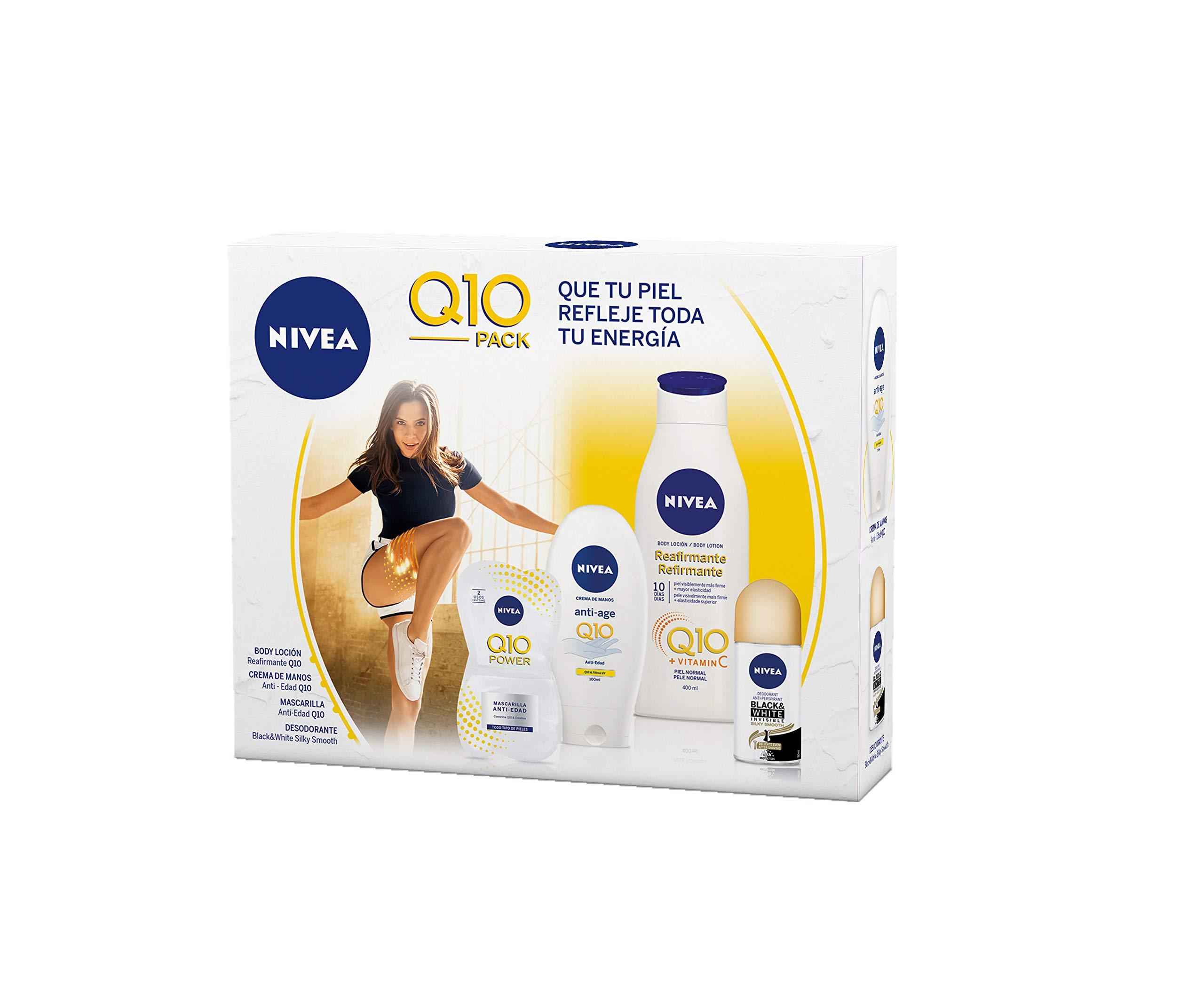 NIVEA Pack Body Q10 con loción reafirmante (1 x 400 ml), crema de manos (1 x 100 ml), desodorante roll on (1 x 50 ml) y mascarilla facial antiarrugas (1 x 15 ml)