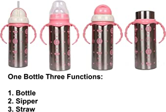 Ineffable 3 in 1 Multifunctional Baby Steel Feeding Bottle for Hot and Cold Milk 180 ml - Pink