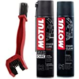 Grand Pitstop Motul C1 Chain Clean and C2 Chain lube (400 ml) with Grand Pitstop Bike Chain Cleaning Brush Red