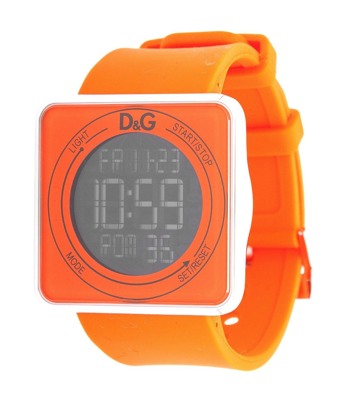 D&G DW0738 – Reloj para hombre con correa de caucho, color naranja/gris