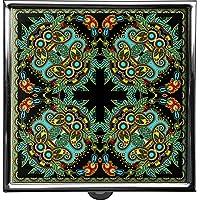 metALUm Pillendose/quadratisch / Modell Thorben/Blumenmuster und Ornamente in schwarz und blau / 42010013 preisvergleich bei billige-tabletten.eu