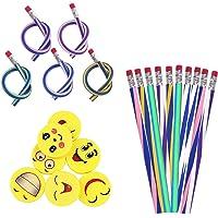 48pcs Biegebleistift Kinder und Smiley Radiergummis, Biegbare Bleistifte,Flexible Biegsame Bleistifte für Kinder ,Party…