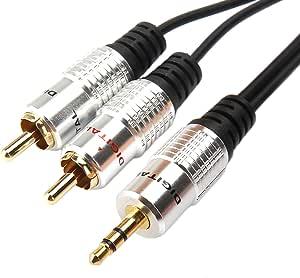 da 3,5/mm Awinner Cavo RCA a doppia schermatura da maschio a cavo stereo-audio Y 2RCA maschio 3 m dorato