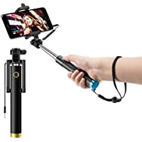 Mobibasics Next Gen Compact Wired Selfie Stick for iPhone and Android - Black