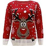 Sudaderas Mujeres sin Capucha Jersey Parade Punto Felpa Navidad Estampadas Stile Semplice Reno Rojo Hombre Unisex Maglione An