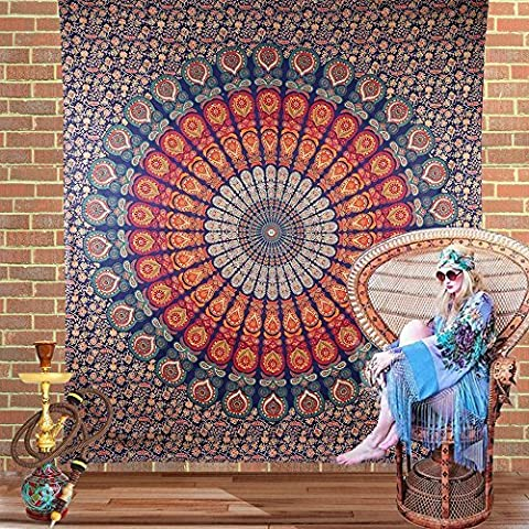 Indian-hippie-hippy Bohemian-psychedelic Peacock-mandala Wall-hanging-tapestry-golden Queen-size-large-84X 90