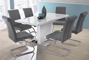Fantastisch Esstisch In Weiß Hochglanz, Ausziehbarer Esszimmertisch, 120 160 Cm Breit  Und 80 Cm