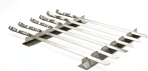 Best of Edelstahl Grill Kabob Rack Set mit sechs 43,2cm Spieße–SR8816