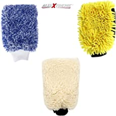 AllExtreme Double-Sided Microfiber Car Washing Mitt Reusable Duster Glove for Wet/Dry Applications (Set of 3)