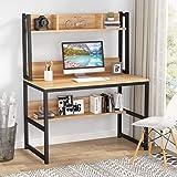 Tribesigns Bureau d'ordinateur Bureau en Bois Bureau d'étude avec clapier et étagère pour Petit Espace, 107cm x 50cm x140cm (