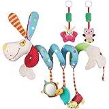 Lictin Juguetes Colgantes Espiral para Bebés- (3 PCS) Juguetes Colgantes del Cochecito para Bebés juguete con espejo y campan