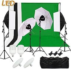 SBARTAR - Hintergrund Fotostudio Set Komplett Foto Hintergrundsystem LED Studioleuchte - 4 Stoffe + 2 * 3m Background System + 2X 50 * 70cm Softbox Set + 2 Fotoschirm Set + 2 Tasche