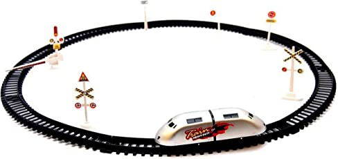Bonkerz Kids High Speed Plastic Metro Train with Round Track with Sign Boards(Multicolour)