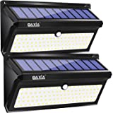 BAXiA Lampe Solaire Exterieur, 100LED 2400mAh Eclairage Exterieur Solaire Detecteur de Mouvement, Extra Lumineuses Lumiere Solaire Etanche Sans Fil Projecteur Solaire pour Jardin (2000LM, 2 Pièces)