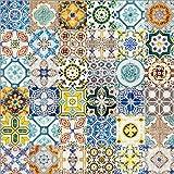 Poster 70 x 70 cm: Azulejos-Keramikwand in Lissabon von