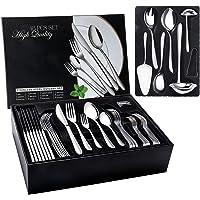 Elegant Life Lot de 48 couverts en acier inoxydable pour 8 personnes avec coffret cadeau, couteau à steak, cuillère…