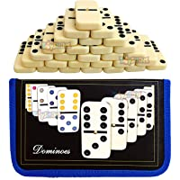 Toyshine Double Six Dot Dominoes Set of 28 for 2-4 Players with Carry Pouch, Bag