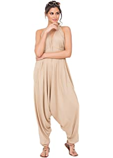 Ladies Summer Beach Holidays Lagenlook Hareem Cami Vest Playsuit Romper Jumpsuit One Size fits UK Pink Loops Print