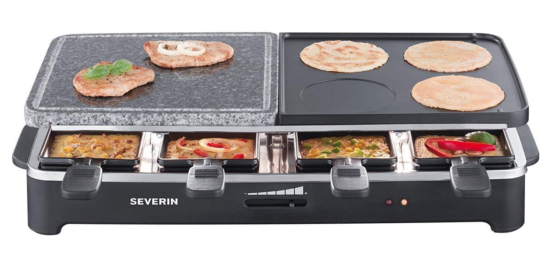 SEVERIN Raclette Partygrill con Piedra Natural y Plancha Reversible, 1.500 W aprox., Incl. 8 Mini-Sartenes, RG 2341