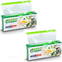 """green zipper Vegetable Storage Freezer Microwave Safe Re-Usable Zipper Bags for Vegetables (Small, 8""""X8""""/20.5cmX20.5cm…"""