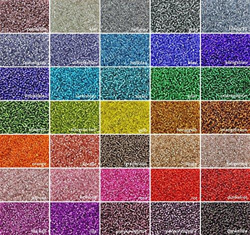 INWARIA Rocailles m. Silbereinzug Ø 2/3/4mm 20/100 g Farbauswahl Perlen Glasperlen RP-11, Klar, 2, 2 mm, 100 g (3, 79€/100 g)