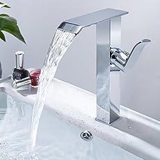 Rubinetto per lavandino e lavabo bagno rubinetto lavabo rubinetto cascata singola maniglia bagno rubinetto monocomando a bassa pressione acqua rubinetto per bagno dimensioni: 28*17.7*4.2 cm