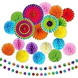 TATAFUN 24 Piezas Decoración Fiesta Abanicos de Papel Flores Pompom Bolas de Nido de Abeja Guirnaldas para Celebración Fiesta