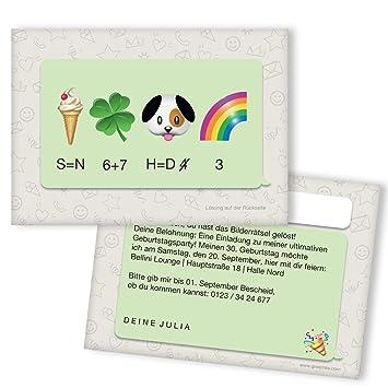 Einladungskarten Geburtstag Bilderrätsel   20 Stück   Emoji   Inkl. Druck  Ihrer Texte   Karte