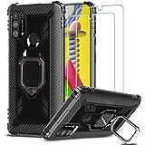 IMBZBK Compatible avec Coque Samsung Galaxy M31,【2 Pack】 Verre Trempé Samsung Galaxy M31, 【Béquille à Bague de Rotation à 360 degrés】【Anti-Chute】 Étui en TPU Souple en Silicone - Noir