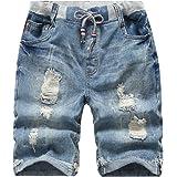 YoungSoul Pantalones Vaqueros Cortos para niños, Bermudas Vaqueros Desgastados, Shorts de Mezclilla con Cintura elástica y Ro