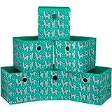 iBKGOO Cube de rangement pliable bacs à tiroirs Lot de 6 boîtes de rangement en tissu avec œillets ronds en métal pour organi