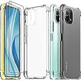 Ferilinso Funda para Xiaomi Mi 11 Lite 4G&5G + 2 Piezas Cristal Templado Protector de Pantalla [Transparente TPU Carcasa] [10