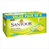 Santoor Aloe Fresh Soap, 125g (Pack of 6) with Aloe Vera and Lime