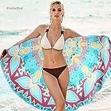 AtailorBird Toalla de Playa de Microfibra, Diámetro 150cm Toalla de Piscina Grande Mandala Esterilla de Yoga, Seque Rápidamen
