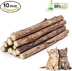 ZoiiBuy Katzenminze Sticks Katzenspielzeug 10 Stück, Matatabi Natürliche Zahnpflege Katzen Kauartikel Spielzeug für Zahn Reinigung für Gesunde Zähne für Zahnstein,Mundgeruch