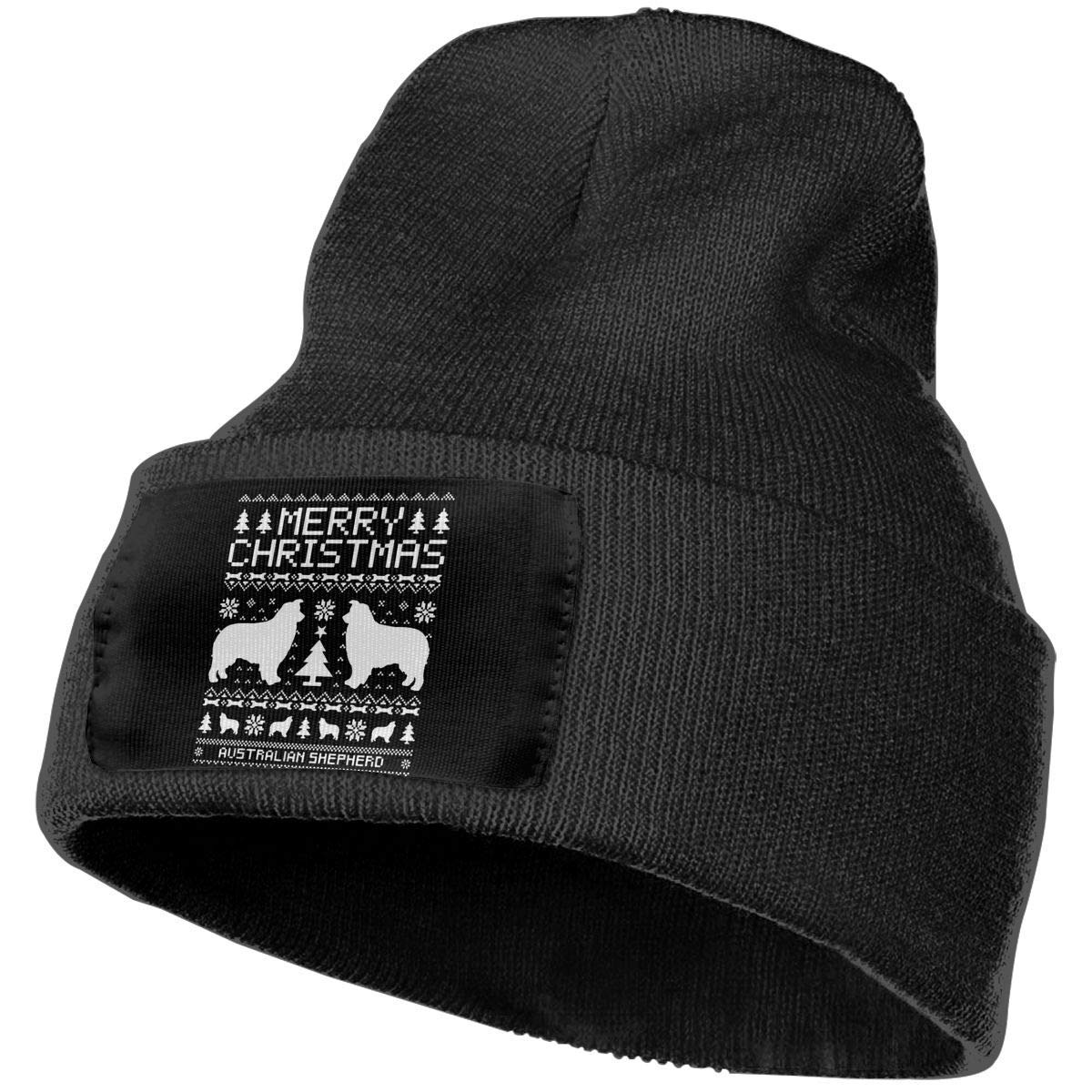 SDLZIJFGHBC Fashion new warm Unisex Men/Women Australian Shepherd Dog Merry Christmas Outdoor Stretch Knit Beanies Hat…