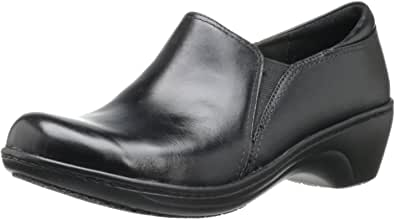 CLARKS Women's Grasp Chime Slip-On Loafer, Black Leather, 6 M US