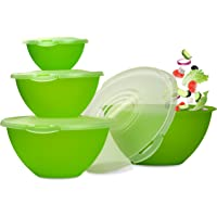 Ensemble de saladiers Hausfelder avec couvercles   Set de bols 0,7- 6 l   Bols en plastique   robuste, sans BPA