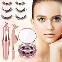 Ciglia Magnetiche con Eyeliner Magnetico, Winpok Ciglia magnetiche, Impermeabile Eyeliner Pen Magnetico, 3D Naturali Ciglia Finte Magnetiche Riutilizzabili Ciglia Finte (3 paia)