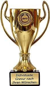 Emblem und Ihrer Gravur Pokal Goldfarben in zwei Größen 270mm inkl