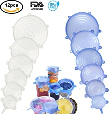 Coperchio in Silicone Estensibile 12Pcs,Silicone Stretch Coperchi. Riutilizzabile da Silicone Bowl Lids Food Saver Covers Wrap Bowl Pot Cup Coperchio Confezione da 6 Blue+6 Trasparente