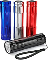 KACOOL 4-Pack Super Bright 9 LED Mini Aluminum Flashlight with Lanyard, Assorted Colors, Batteries Not Included, Best Handheld Torch Tools for Camping, Hiking, Hunting, Backpacking, Fishing, BBQ and EDC (Without Batteries)