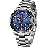 WISHDOIT Relojes Hombre Impermeable Deportes Cuarzo Analógico Cronógrafo Reloj de Vestir Moda Negro Esfera Grande con Plata A