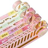 YUBX Pink Gold Washi Tape Set de ruban adhésif décoratif VSCO pour travaux manuels, journaux Bullet Journals, planificateurs,