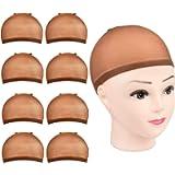 Brown Wig Caps,8 Pcs MORGLES 8 Pcs Nylon Wig Cap Dark Brown Wig Stocking Cap for Women Makeup