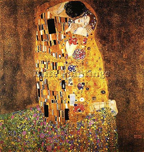 GUSTAV KLIMT 1907 08 KISS THE ARTISTA QUADRO RIPRODUZIONE DIPINTO OLIO A MANO 100x100cm alta qualita