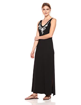 42554dac2d0 Karen Kane Women s Embroidered Alana Maxi Dress  Amazon.in  Clothing ...
